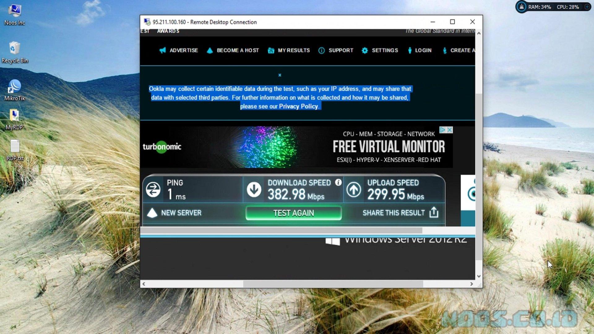 Hasil Speedtest Internet Komputer RDP