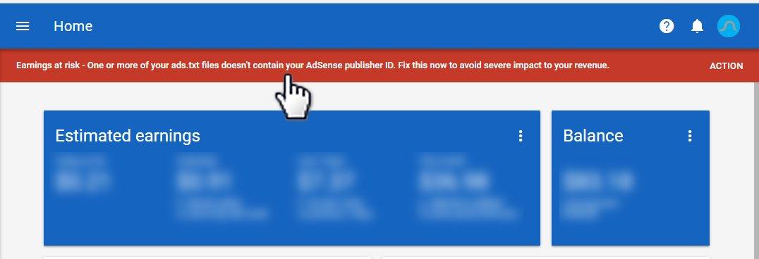 Warning ads.txt dari Google Adsense
