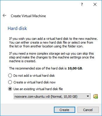 Memilih VirtualBox Disk Image