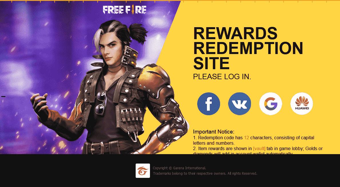 Free Fire Reward Redeem Code Garena FF