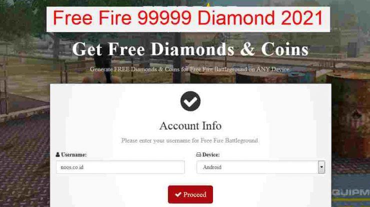Free Fire 99999 Diamond 2021